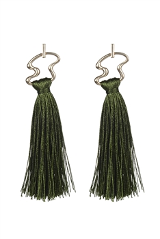 Irregular Metal Tassel Earrings E2647 - Green