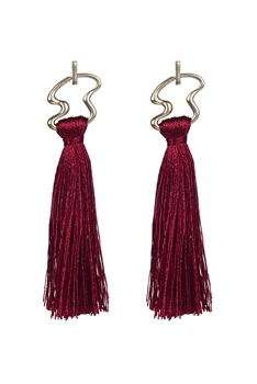 Irregular Metal Tassel Earrings E2647 - Red