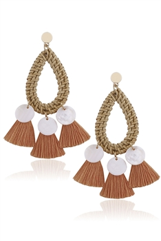 Teardrop Shell Tassel Drop Earrings E2648 - Orange