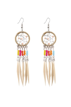 Dream Catcher Feather Tassel Earrings E2652 - Beige