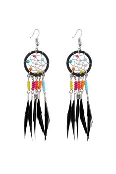 Dream Catcher Feather Tassel Earrings E2652 - Black