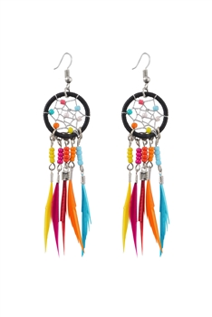 Dream Catcher Feather Tassel Earrings E2652 - Multi