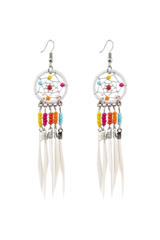 Dream Catcher Feather Tassel Earrings E2652 - White