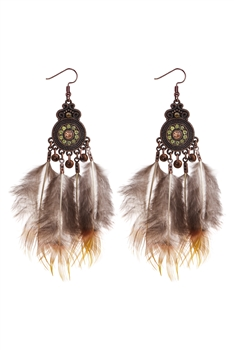 Bohemian Ethnic Women Feather Drop Earrings E2655