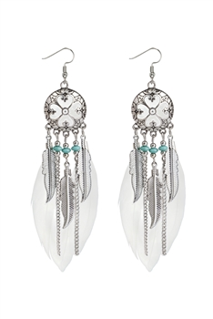 Boho Tassel Feather Metal Earrings E2658 - White