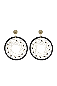 Bohemian  Beads Round Mesh Earrings E2659 - Black