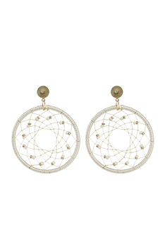 Bohemian  Beads Round Mesh Earrings E2659 - White