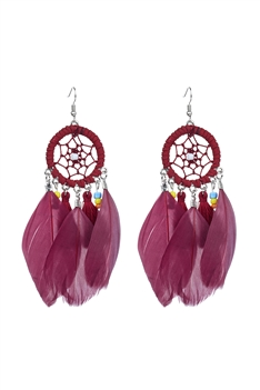 Bohemian Dream Catcher Feather Earrings E2664 - Red