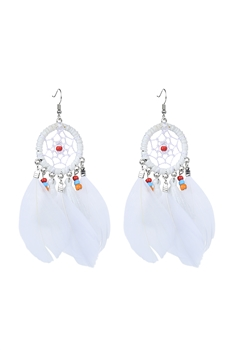 Bohemian Dream Catcher Feather Earrings E2664 - White