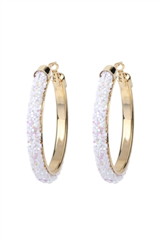 Large Flash Metal Hoop Earrings E2668-L - White