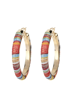 Plush Metal Hoop Earrings E2669 - Multi