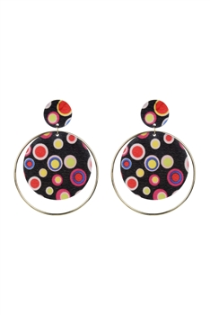 Metal Acrylic Round Earrings E2671