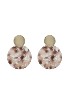 Round Dangle Marbled Earrings E2673 - Brown