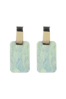 Marble Pattern Rectangle Acrylic Earrings E2675 - Green