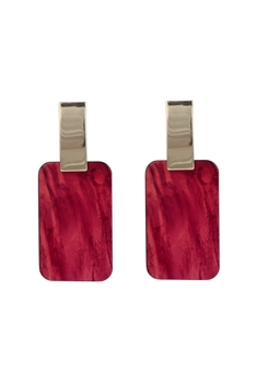 Marble Pattern Rectangle Acrylic Earrings E2675 - Red