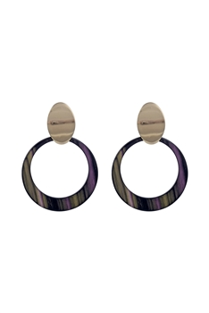 Dangle Resin Circle Metal Earrings E2676
