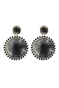 Metal Crystal Circle Dangle Earrings E2682