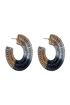 Bohemian Braided Circle Hoop Earrings E2684 - Black