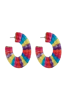 Bohemian Braided Circle Hoop Earrings E2684 - Multi