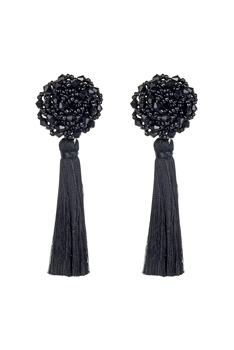 Bohemian Multicolor Ball Tassel Earrings E2690 - Black