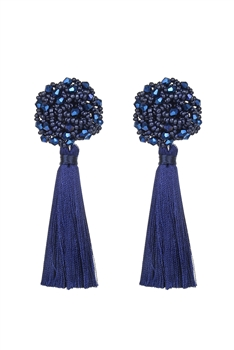 Bohemian Multicolor Ball Tassel Earrings E2690 - Blue