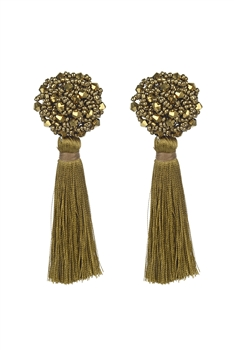 Bohemian Multicolor Ball Tassel Earrings E2690 - Gold