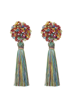 Bohemian Multicolor Ball Tassel Earrings E2690 - Multi