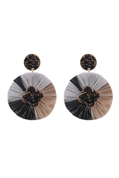 Bohemian Seed Bead Circle Tassel Earrings E2692 - Black