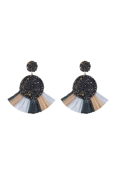 Bohemian Seed Bead Circle Tassel Earrings E2693 - Black