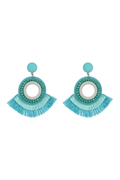 Bohemian Crystal Circle Tassel Earrings E2695 - Green