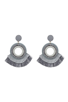 Bohemian Crystal Circle Tassel Earrings E2695 - Grey