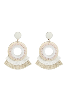 Bohemian Crystal Circle Tassel Earrings E2695 - White