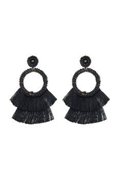 Bohemian Seed Bead Circle Tassel Earrings E2696 - Black