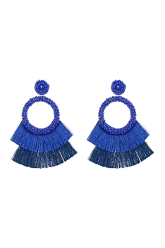 Bohemian Seed Bead Circle Tassel Earrings E2696 - Blue