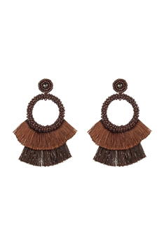 Bohemian Seed Bead Circle Tassel Earrings E2696 - Brown
