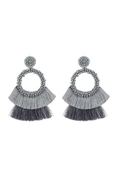 Bohemian Seed Bead Circle Tassel Earrings E2696 - Grey