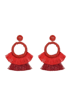 Bohemian Seed Bead Circle Tassel Earrings E2696 - Red