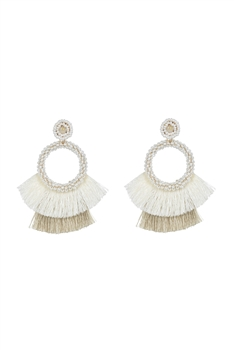 Bohemian Seed Bead Circle Tassel Earrings E2696 - White
