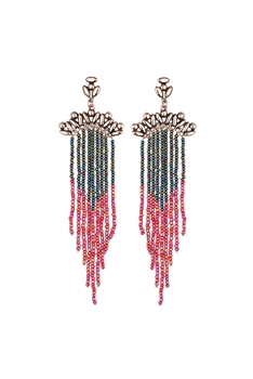 Seed Bead Metal Tassel Earrings E2697 - Green