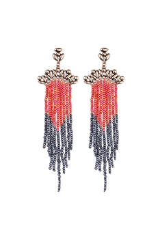 Seed Bead Metal Tassel Earrings E2697 - Red