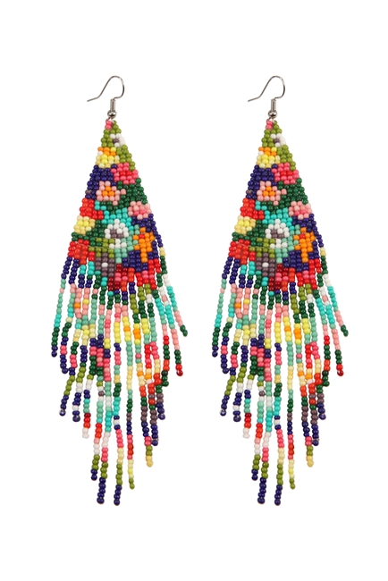 Bohemian Seed Bead Tassel Earrings E2702