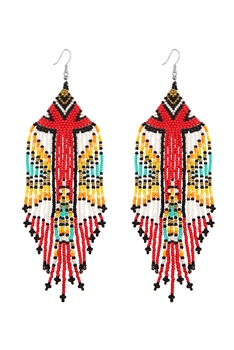 Bohemian Seed Bead Tassel Earrings E2703