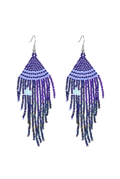 Seed Bead Tassel Earrings E2707 - Blue