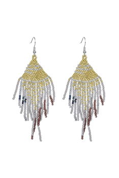 Seed Bead Tassel Earrings E2707 - Gold