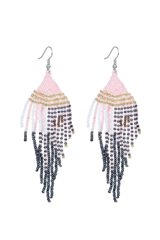 Seed Bead Tassel Earrings E2707 - Pink