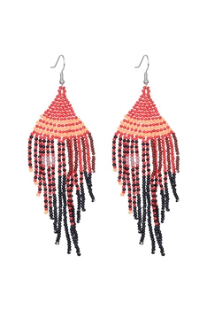 Seed Bead Tassel Earrings E2707 - Red