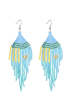 Seed Bead Tassel Earrings E2707 - Turquoise