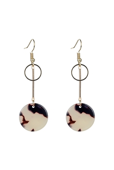 Marble Pattern Round Acrylic Earrings E2719 - Beige
