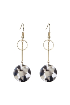 Marble Pattern Round Acrylic Earrings E2719 - Black