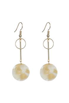 Marble Pattern Round Acrylic Earrings E2719 - White